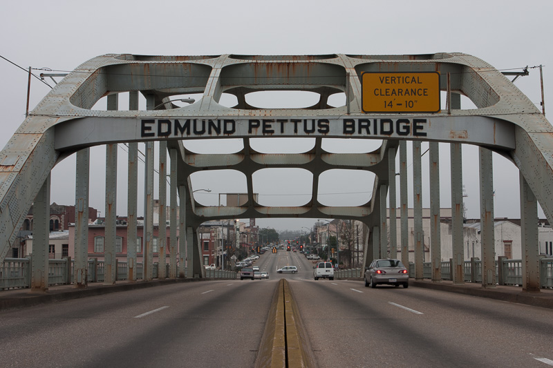The Edmund Pettus Bridge looking westward through the main arch, toward downtown Selma.